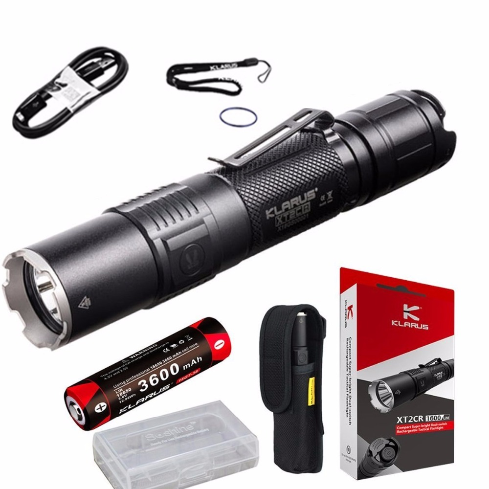 Flashlight KLARUS XT2CR CREE XHP35 HD E4 LED max. 1600LM beam distance 240M tactical torch +18GT-36 3600mAh battery + cable new klarus xt11gt cree xhp35 hi d4 led 2000 lm 4 mode tactical led flashlight free usb port and 18650 battey for self defence