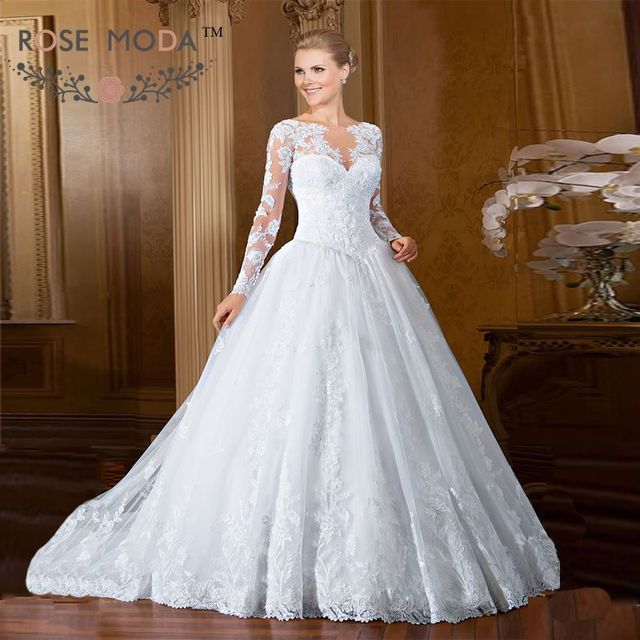 Lace Ball Gown with Detachable Long Sleeves Jacket Bolero Pearl ...