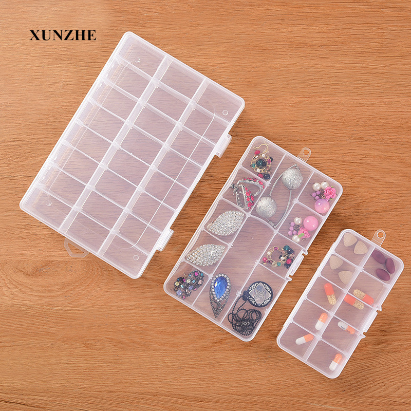 10-24 Grid Compartments Storage Box Plastic Cosmetic Storage Jewel Bead Case Cover Box Storage Container Adjustable Organizer
