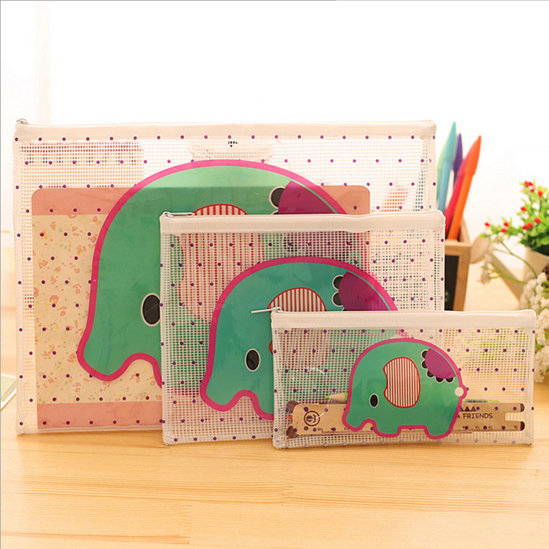 Cartoon Elephant PVC File Bag Pencil Case File Folder Documents Filling Bag Office School Suppllies Stationery Bag