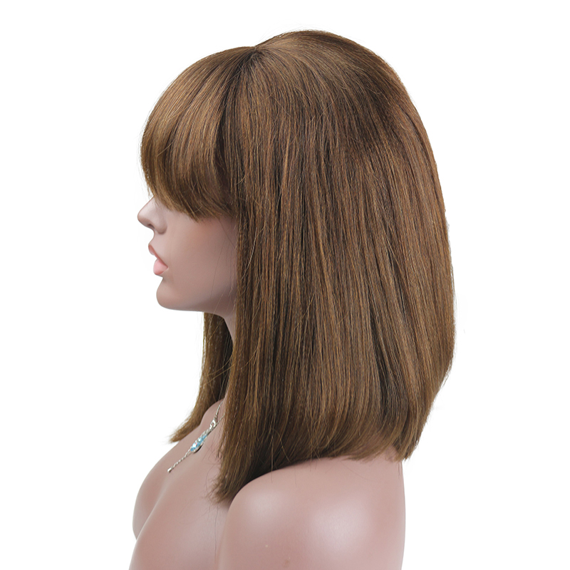 Eseewigs Light Yaki Lace Front Human Hair Wigs With Bangs Brown Color Remy Human Hair Glueless Wig for Women Baby Hair Around