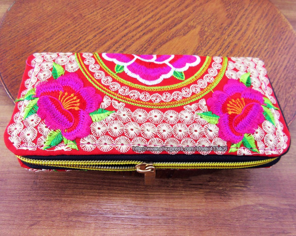 Vintage Hmong Thai Ethnic Wallet purse, Card Holder Bag, Hobo Hippie Ethnic handbag with embroidery, SYS-198 vintage embroidery womens flower embroidered wallet purse handmade ethnic fashion long wallet phone handbag bolsos vintage mujer
