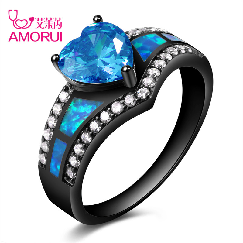 AMORUI Vintage Black Gold Color Rainbow Purple Green Blue CZ Stone Heart Wedding Rings for Women Fashion Opal Ring Jewelry Gift