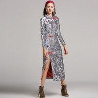 Enthnic Dresses New 2017 Autumn Floral Embroidery Mandarin Collar Silver Dark Blue Split High Quality Sheath
