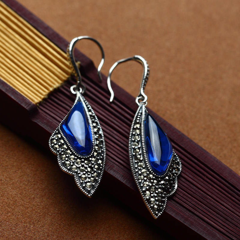 High quality 925 sterling silverwomen jewelry retro bohemian long earrings natural stone blue corundum garnet lovers best gift