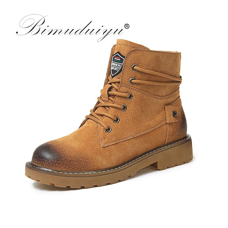 BIMUDUIYU marca Otoño Invierno cuero genuino cerdo Suede botines alta calidad limpie Color de las mujeres botas de nieve botas