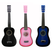 23inch Black Basswood Acoustic Guitar With Guitar Pick Wire Strings