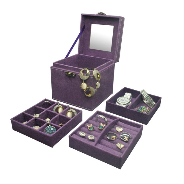 JULYS SONG Korean Vintage Womens Three Layers Flannel Jewelry Box