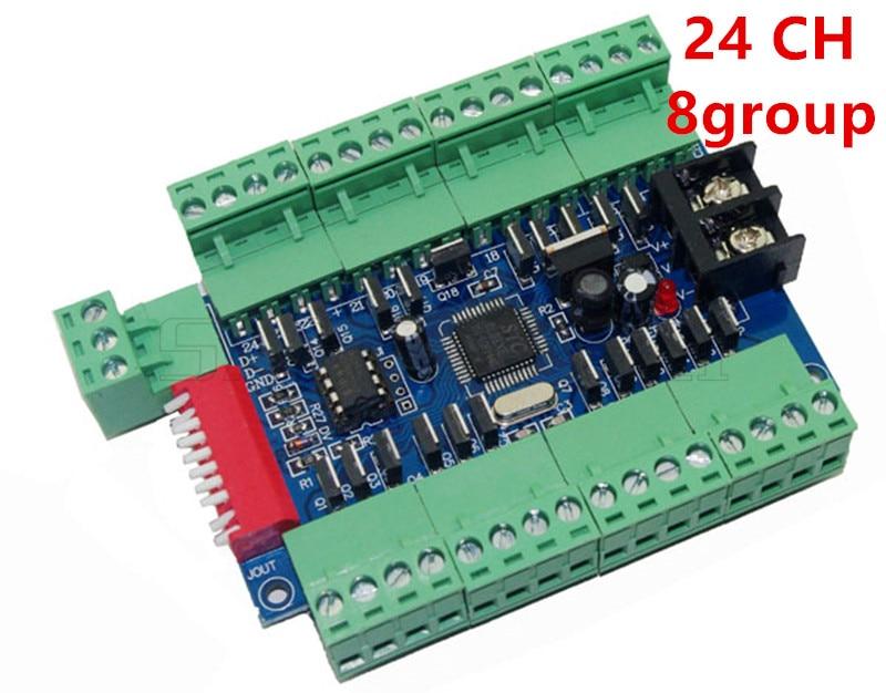ขายส่ง DC12 24V 24CH 24 ช่อง 3A/CH 8 กลุ่ม Easy DMX LED Decoder,Controller,Dimmer, สำหรับไฟ LED RGB Strip Light โมดูล-ใน ตัวควบคุม RGB จาก ไฟและระบบไฟ บน Hanstar Lighting Store