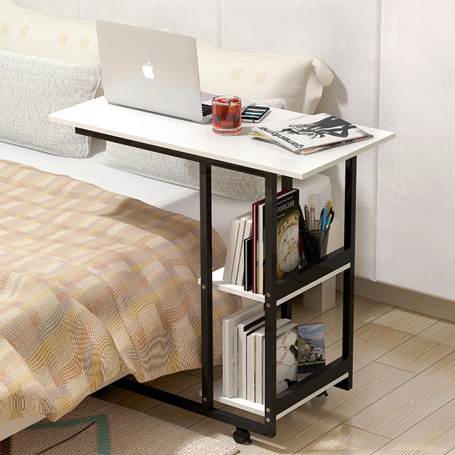 Multifuntional Mini Laptop Desk As Bookshelf Movable Coffee Table Computer Storage Rack For Bed