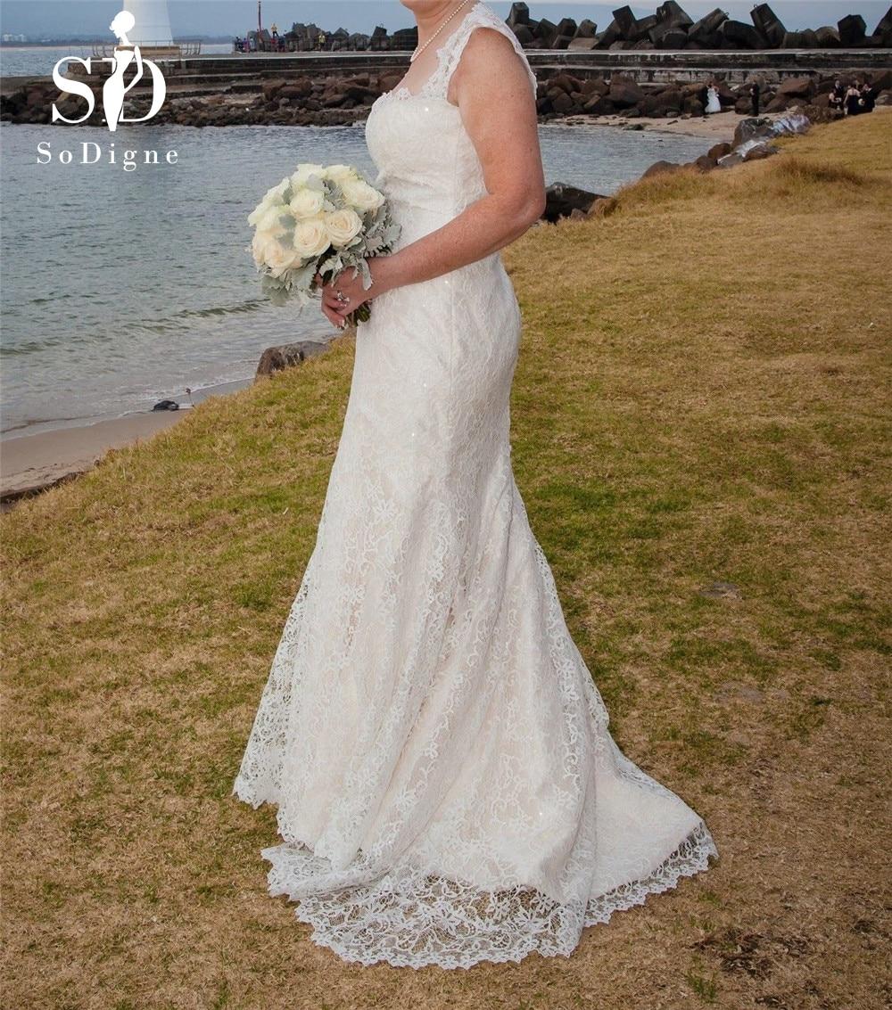 SoDigne 2018 Wedding Dress New Beach Bridal Gown Lace Appliques White/Lvory Romantic Back Zipper Design Dress Custom Made Size
