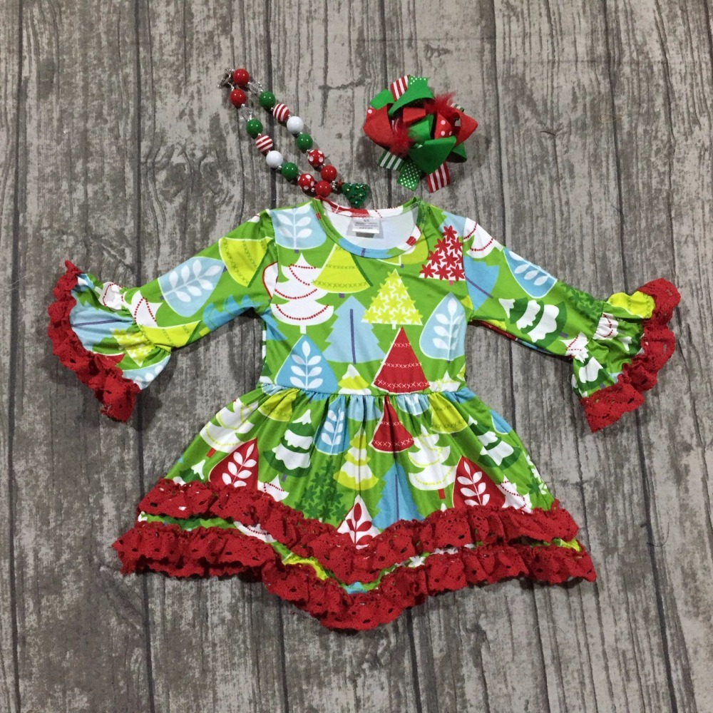 baby girlsboutique Christmas tree dress girls Christmas red lace ruffle dress Christmas party dress long sleeve with accessories baby girls halloween pumpkin dress girls halloween stripe ruffle dress halloween party dress long sleeve with accessories