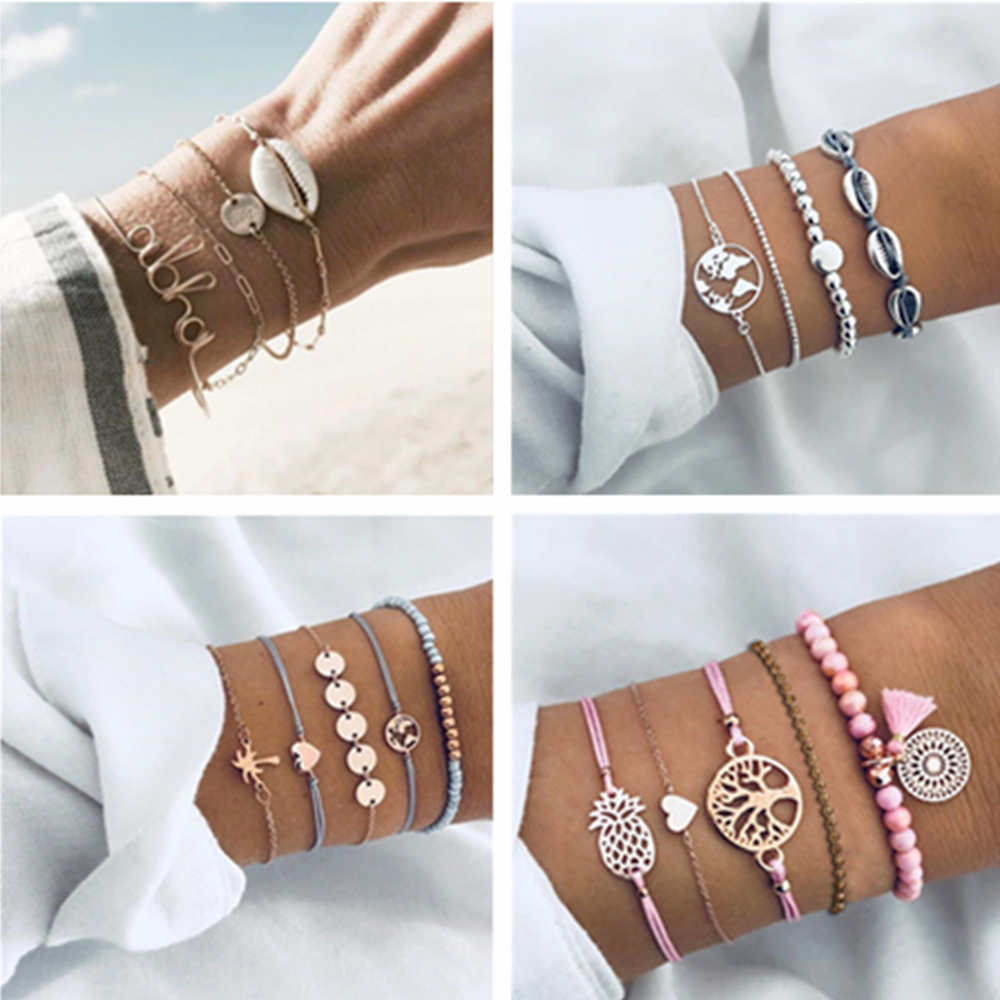 5Pcs//Set Fashion Women Boho Heart Hollow Tree Beads Bracelet Bangle Bijoux
