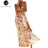 Off Shoulder Summer 2017 Boho Women Dress Deep V Neck Floral Print Maxi Long Dresses Strap
