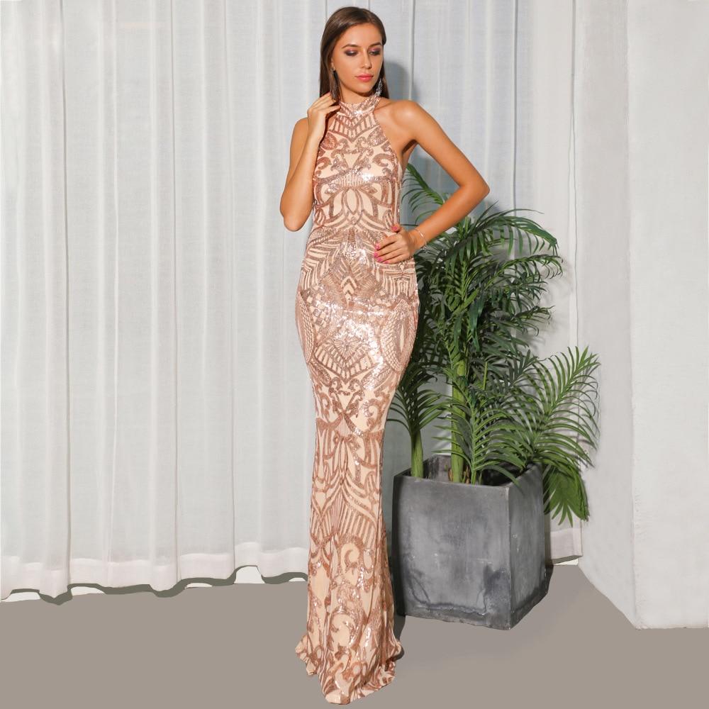 Con Gros Spéciale Sexy Mode Dos Robe Robes Fête D'anniversaire Paillettes Nu Halter Corps De En Bretelles Offre Célébrité Femmes Longue À Or doCxeBrW