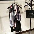 [LIMÃO AZEDO] inverno Mulheres Lenço De Seda Estilo de Moda de luxo da marca echarpe platki eu sharfy dlya zhenshchin xales e cachecóis