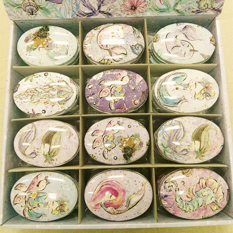24pcs/box Small Storage Box Mix mermaid Printing Oval Shape Candy Box Handmade Soap Case Mini Tin Jewelry box Small Pill Case