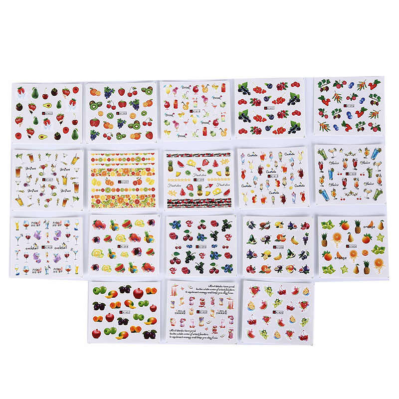 DIY Tattoo Tip Decoration 18 Sheets Fruit Cocktail Series Mixed Design Nail Art Stickers Water Transfer Full Cover Sticker