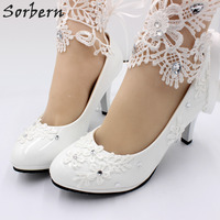 Sorbern White Lace Ankle Strap Wedding Shoes New 2019 Bridal Heels High Low Heel Bridesmaid Girl Pumps 3cm/5cm/8cm
