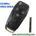 433Mhz 4d63 80bit auto transponder chip HU101 Groove Transmitter Keyless entry car folding control auto flip key For Ford Fusion