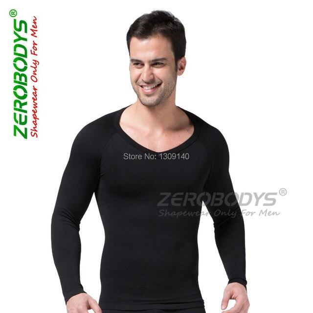 Mens long sleeve body shaper tummy abdomen buster seamless thermal hot shape shirt balance weight S,M,L,XL black underwear B321