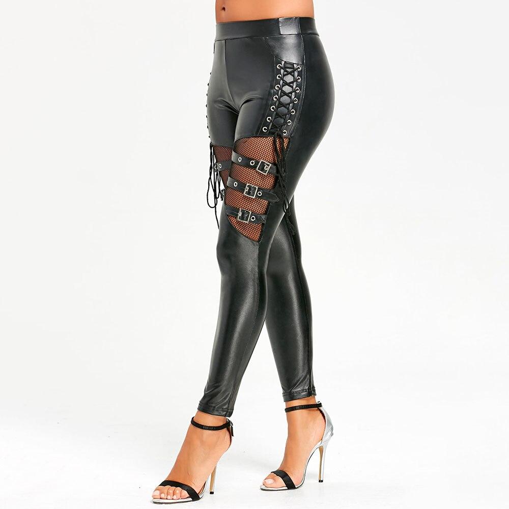 Legging simili cuir gothique noir Sexy femme Legging fin noir Leggings Mujer extensible punk Legging Push Up