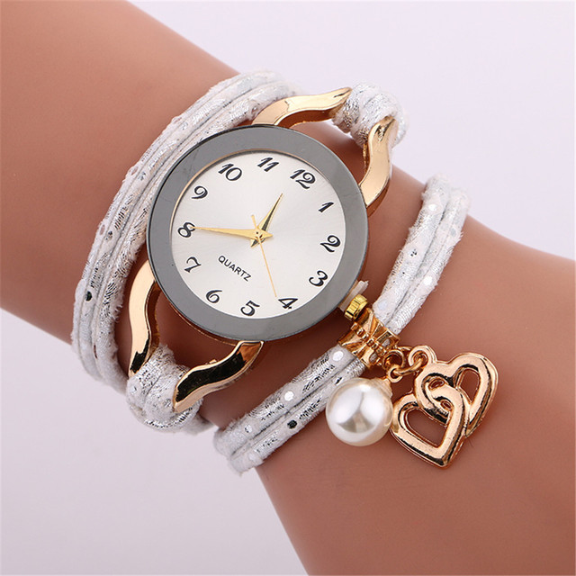 Ladies Watch Luxury Brand New Women Rhinestone Gold Bracelet Watch Pu Leather Fe