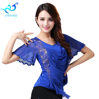 Ballroom Dance Outfit Costume Short Sleeves Top Blouse Professional Practice Exercise Competition Stage L XL 2XL