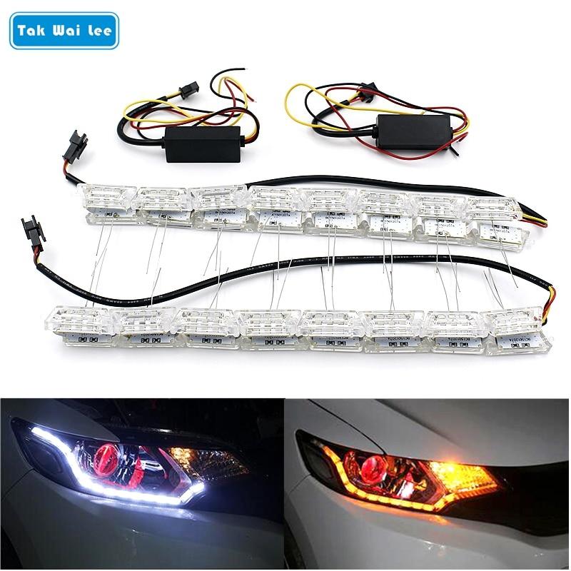 טאק וואי לי 2x רכב גמיש לבן / ענבר קריסטל LED DRL בשעות היום רצועת רצועת אור איתות זורם פנס הגה זורם