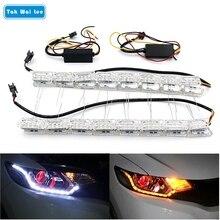 Tak Wai Lee 2x Car Flexible White/Amber Crystal LED DRL Daytime Running Strip Light Turn Signal Flowing Steering Bar Headlight