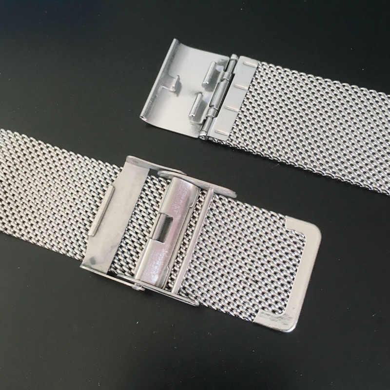 Pasek akcesoria do zegarków wysokiej jakości panie ze stali nierdzewnej wodoodporny pasek bezpieczeństwa klamra pleciony pasek z siatki dla DW CK zegarki