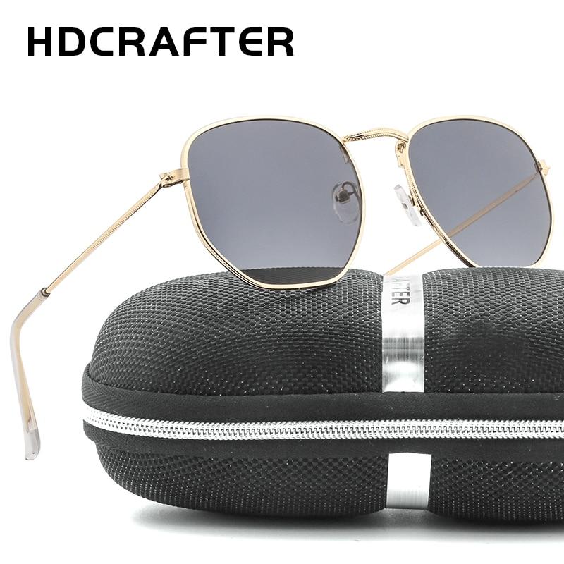 HDCRAFTER Brand ladies Mirror lens Sunglasses Men Square Sunglases UV400 Women Metal Frame Fishing Glasses Unisex