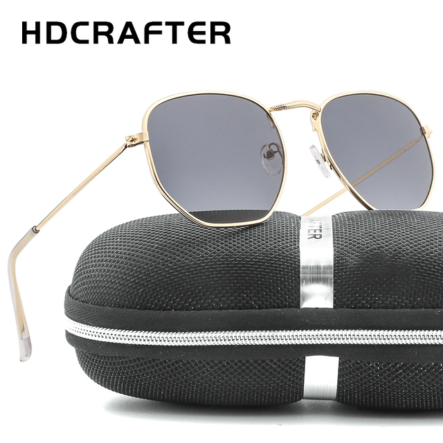 1326d9e093 HDCRAFTER Brand ladies Mirror lens Sunglasses Men Square Sunglases UV400  Women Metal Frame Fishing Glasses Unisex