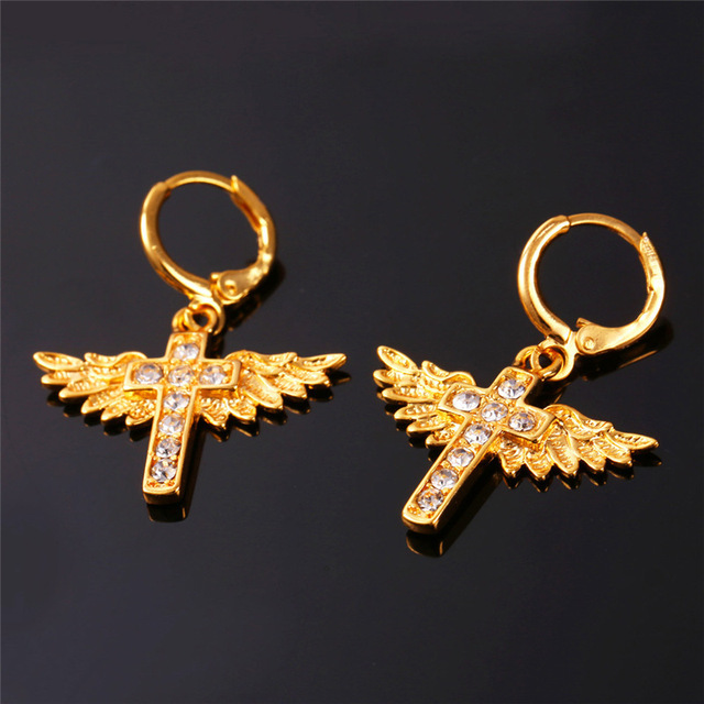 One Set of Real 18k Gold Plated Angel Wing Earrings Jewelry