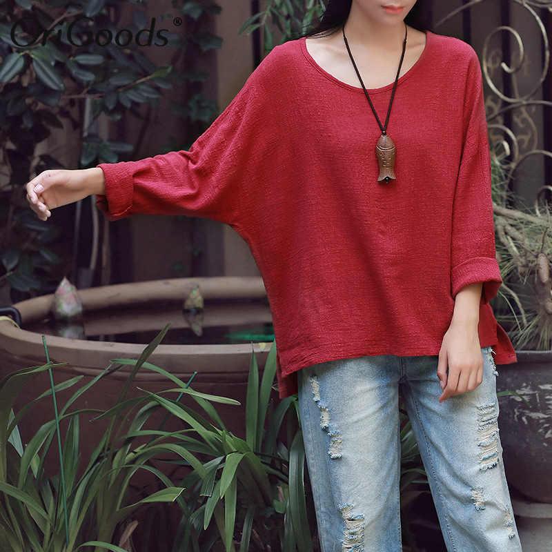 OriGoods, хлопковая, льняная, длинный рукав, блузка, для женщин, Круглый ворот, свободная, повседневная, летняя, блузка, рубашка, для женщин, плюс размер, Blusas, топы C125