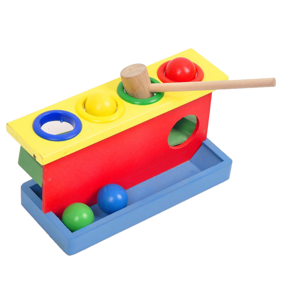 Baby Colorful Hammering Wooden Ball+Hammer Box Multicolor Kids Early Learning Educational Brain Hand Training Toys Gift children early learning educational toys baby hammering wooden ball hammer box geometric blocks kids newborn toy gifts b