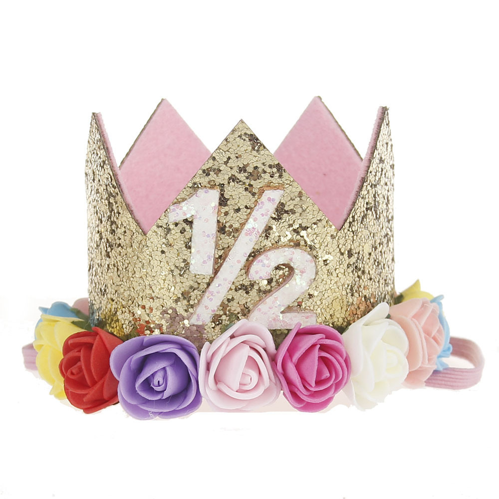 1st 2nd Birthday Hat 1 2 Crown Half Outfit Girl Glitter