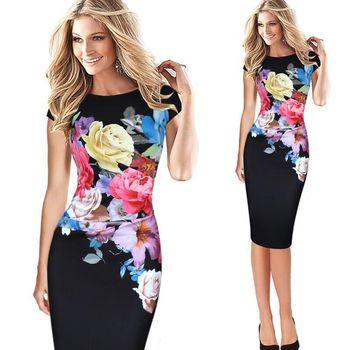 c4e62d592 Vestido elegante Desigual de moda para mujer Vintage Silm Sexy vendaje  vestido de fiesta de oficina Vestidos de flores impresas XXL XXXL 4XL 5XL