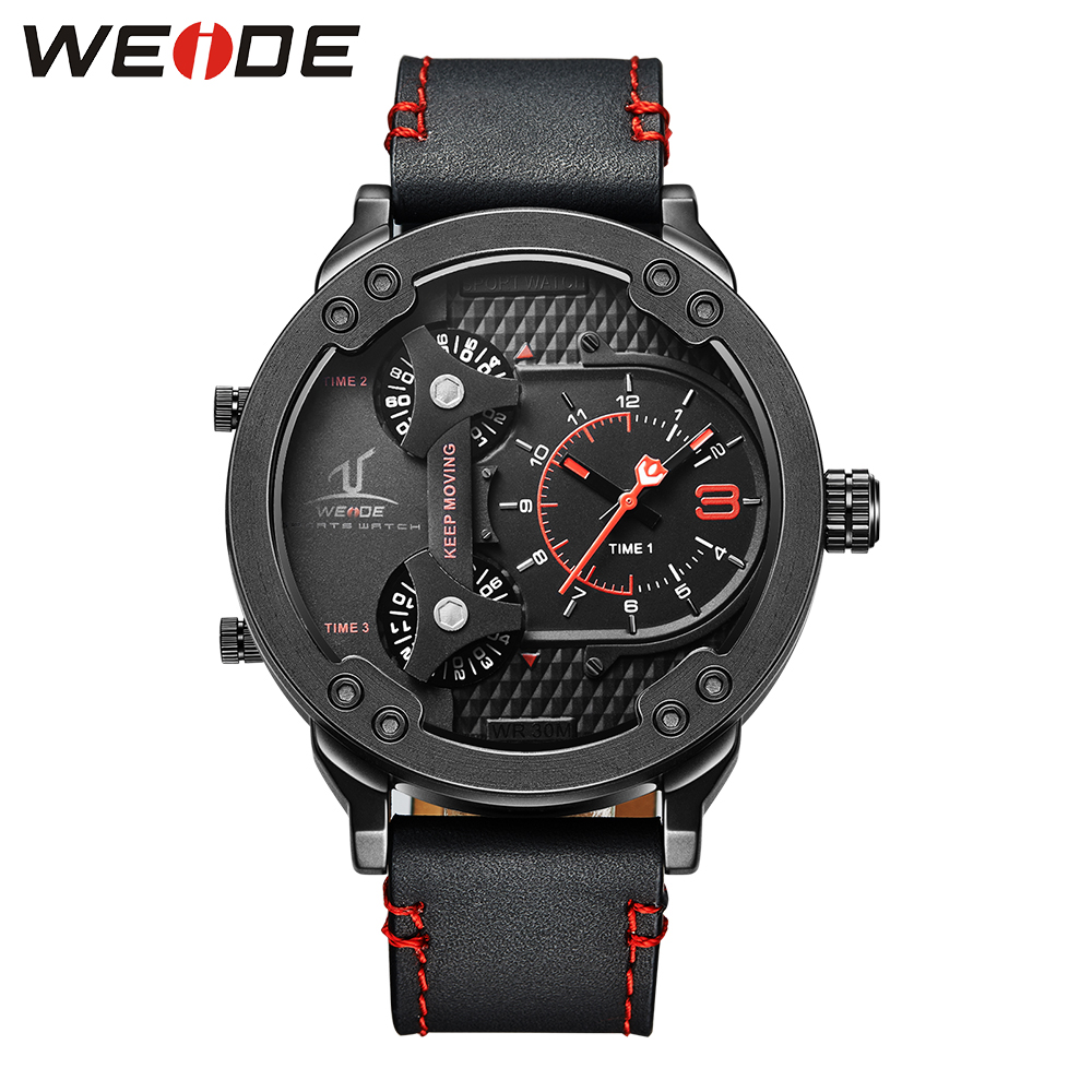 WEIDE Official Watch Black Big Dial Red Number Top Brand 3ATM Multiple Time Zone Wrist Watch Quartz Japan Movement Gifts for Men super speed v6 v0153 by check dial quartz wrist watch for men black yellow while 1 x lr626