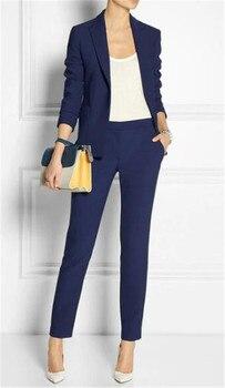 Trajes de Primavera de mujer azul marino traje de negocios Formal femenino Ropa de Trabajo verano 2 piezas para mujer hecho a medida