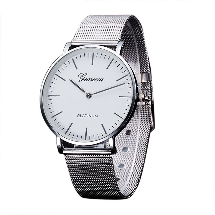 все цены на  2016 New Famous Brand Silver Casual Geneva Quartz Watch Women Mesh Stainless Steel Dress Women Watches Relogio Feminino Gift  онлайн