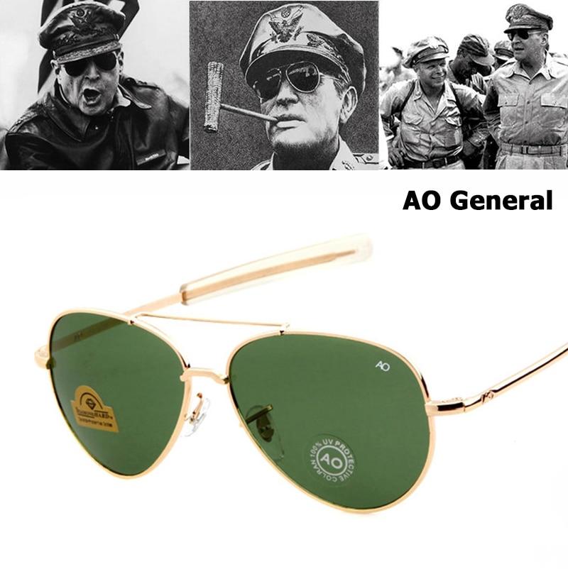 JackJad MILITAR Do Exército Estilo Aviação AO MacArthur Geral óculos de Sol Americanos Homens Óculos de Sol Oculos de sol óculos de Lente de Vidro Óptico