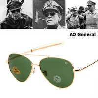 Jackjad exército militar macarthur aviação estilo ao geral óculos de sol americano lente de vidro óptica dos homens óculos de sol