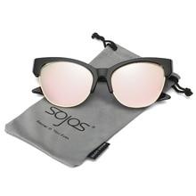SOJOS 2017 Fashion Brand New Cat Eye Sunglasses Women Half Frame High Pointed  Mirror Flat lens UV400 oculos de sol SJ2026