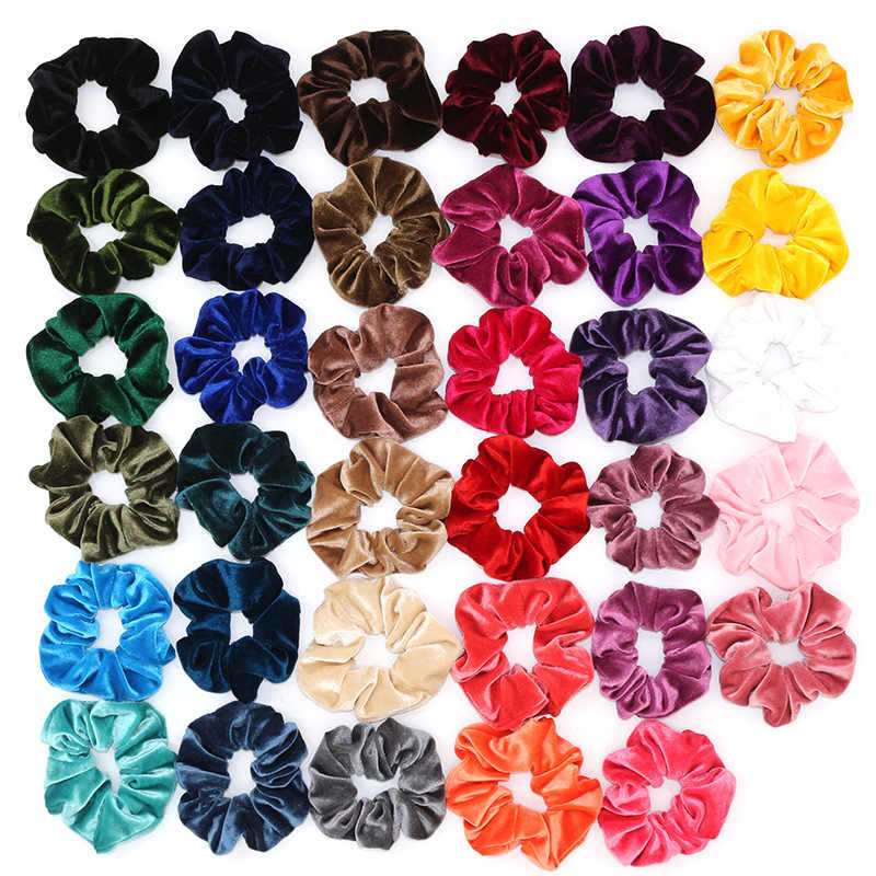 33 Warna Beludru Korea Rambut Scrunchie Elastis Rambut Band Warna Solid Wanita Hiasan Kepala Ekor Kuda Aksesoris