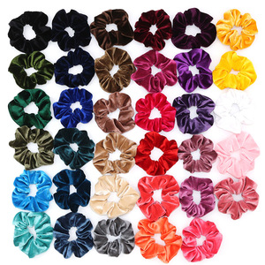 33Colors Korea Velvet Hair Scrunchie Elastic Hair Bands Solid Color Women Girls Headwear Ponytail Holder Hair Accessories(China)