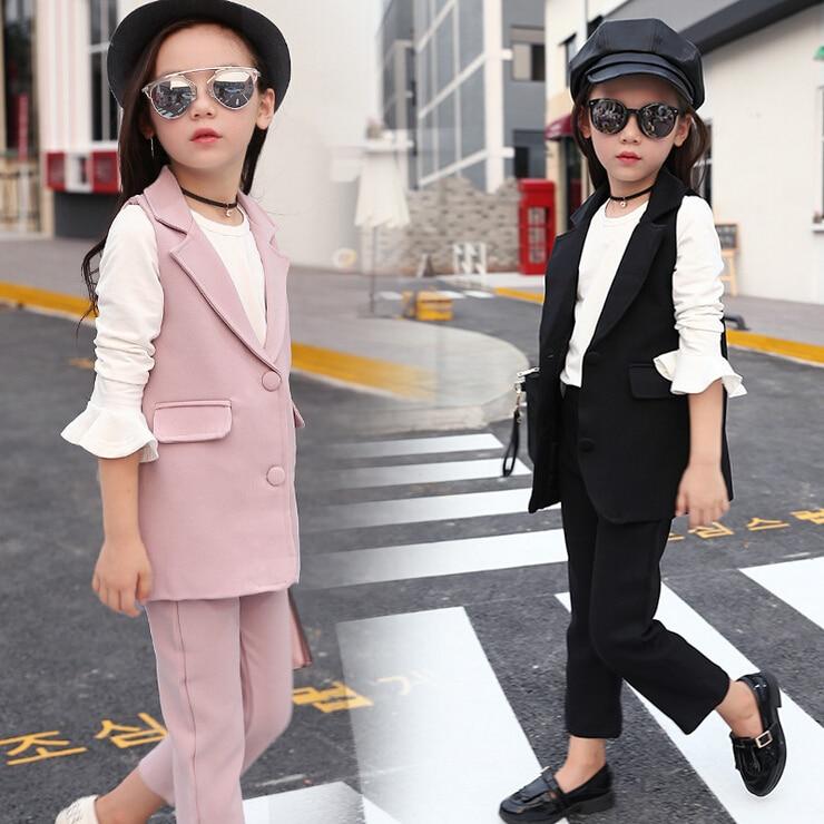 2017 autumn children's Clothes Girls Sets Slim Sleeveless Cotton Baby Girl Formal Suits Clothing Girls Kids Sets Vest+Pants 2pcs