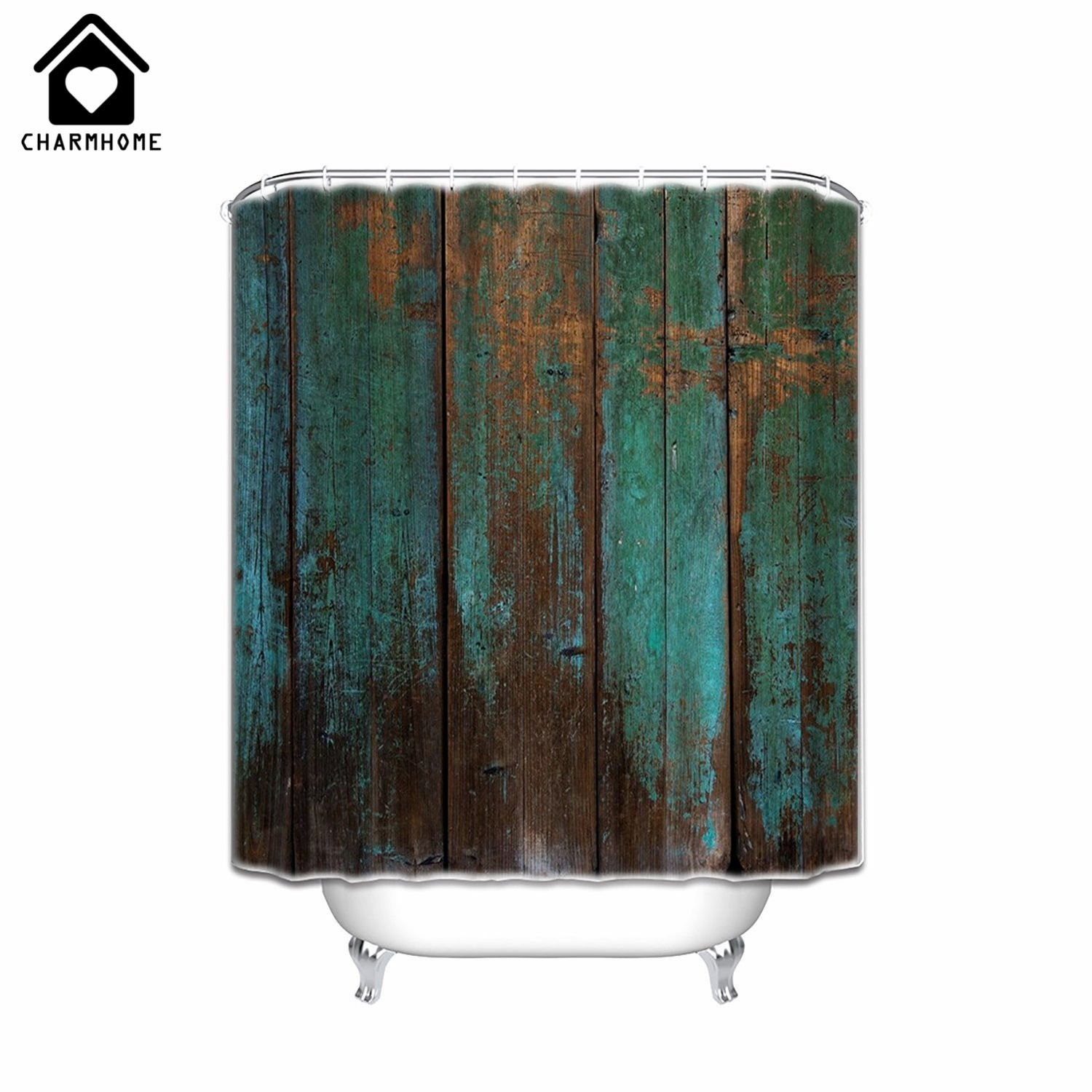 Charmhome country rustic distressed teal green barn wood for Shower curtain savers