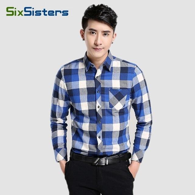 New Men's Plaid Shirt Male 100% Cotton Warm Long Sleeve Shirt Spring Autumn Soft Comfort Slim Fit Styles Brand Clothes HS1824
