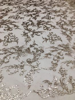 French Net Lace Fabric with glued glitter African Lace Fabric With Embroidery Mesh Tulle Lace Fabric High quality Nigerian Lace